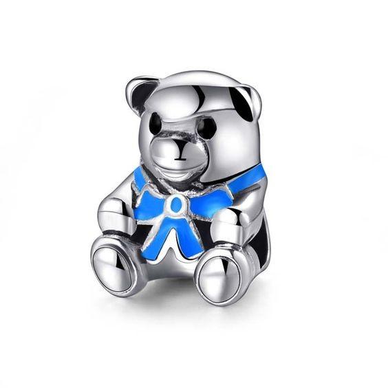 Conta banhada a prata 925 compatível com pandora (Urso de peluche azul)