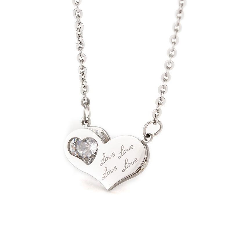 Colar pingente / pendente de aço inoxidável - coração
