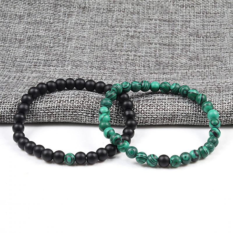 Pulseira de pedra natural (verde/preto)