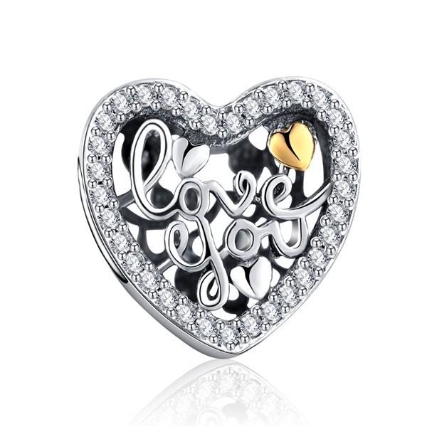 Conta de prata 925 compatível com pandora (I Love You)