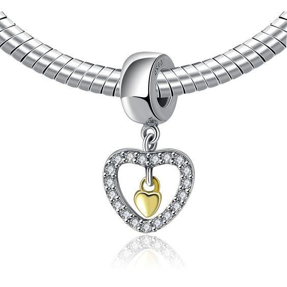 Conta pingente de prata 925 compatível com pandora (Para sempre no meu coração)