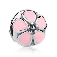 Conta de prata 925 compatível com pandora (flor de cerejeira rosa) - Clip