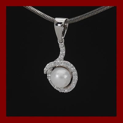 Pendente / Pingente de prata 925 + pedra Zircônia e pérola
