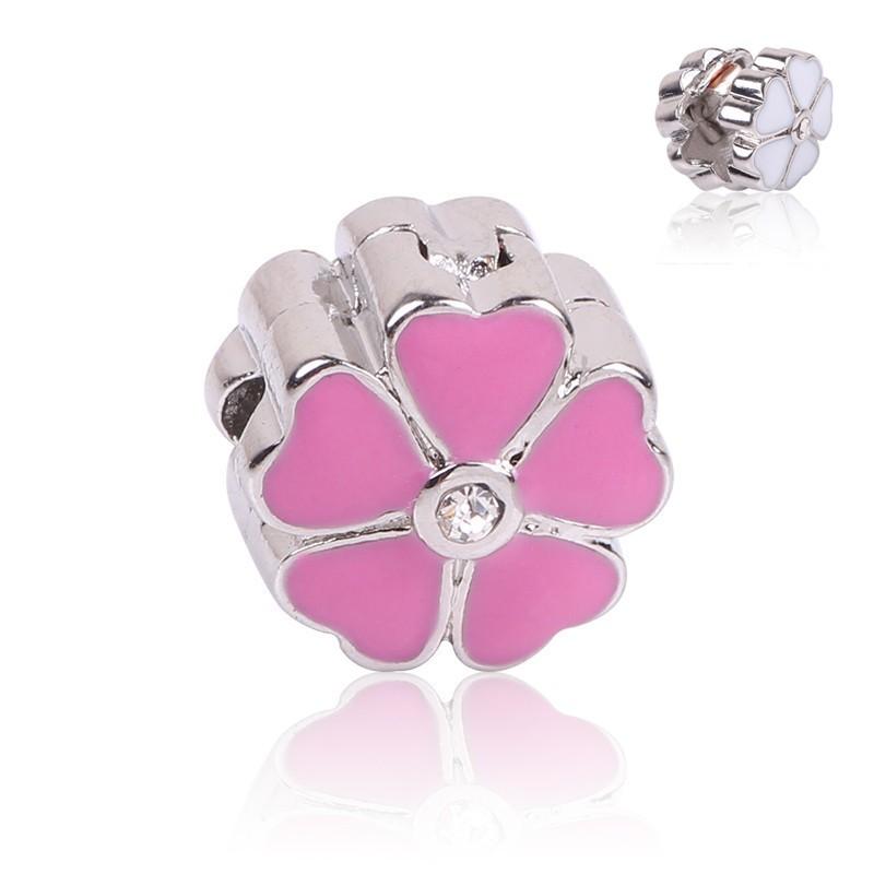 Conta compatível com pandora (flor corações rosa forte) - clip