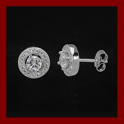 Brincos de prata 925 com pedras zircônia cúbica (redonda)