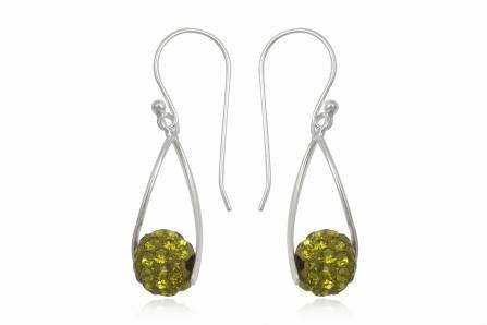 Brincos prata 925 c/ cristais preciosa verde oliva