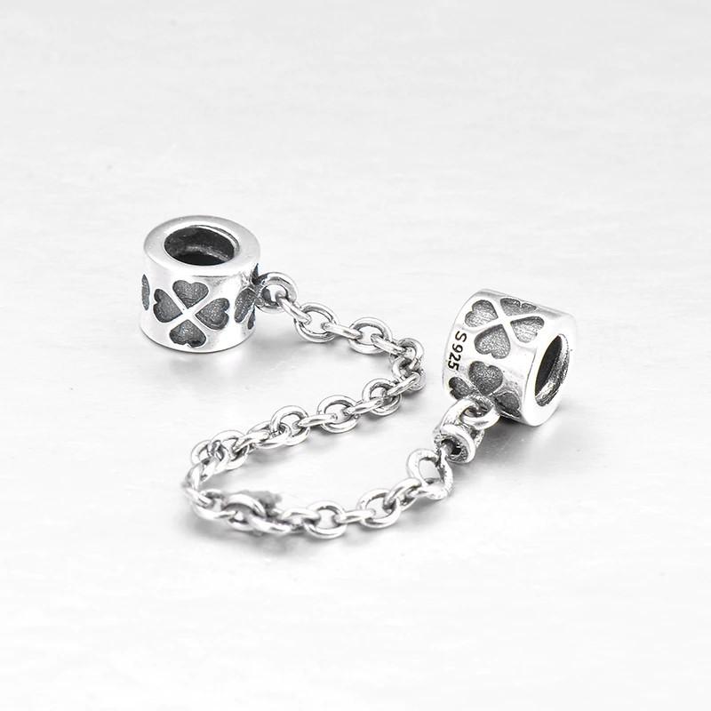 Corrente de prata compatível com pandora (trevo)