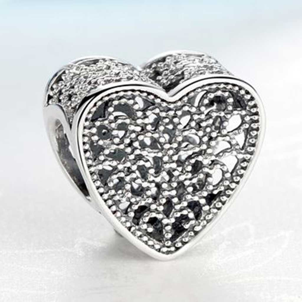 Conta de prata 925 compatível com pandora (coração encantos)