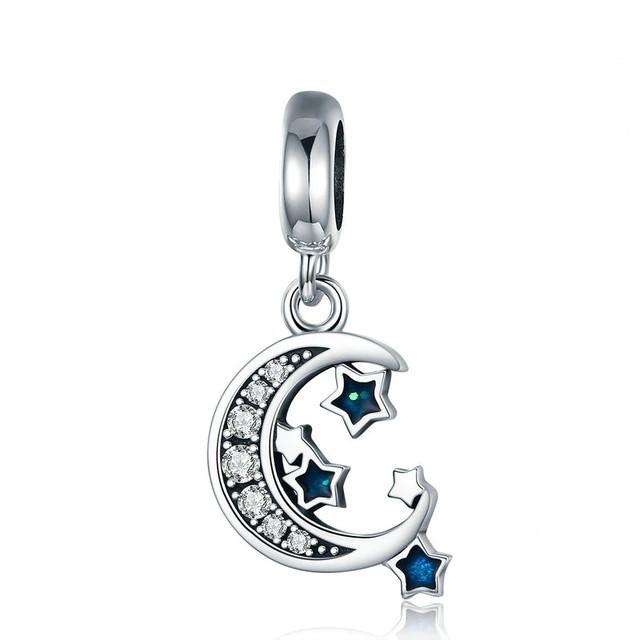 Conta pingente de prata 925 compatível com pandora (Lua e estrela)