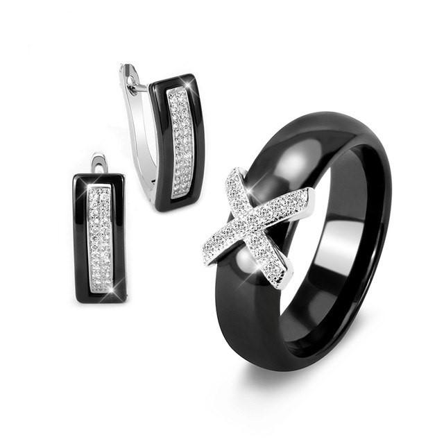 Conjunto brincos e anel cerâmico com zircões