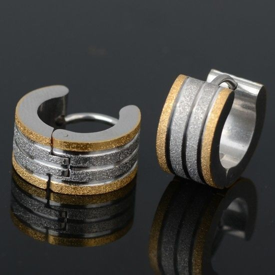 Brincos / argolas de aço inoxidável cor prata/ouro