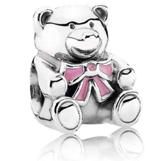 Conta banhada a prata 925 compatível com pandora (Urso rosa)