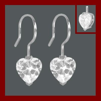 Brincos de prata 925 com 1 pedra zircônia cúbica (coração)