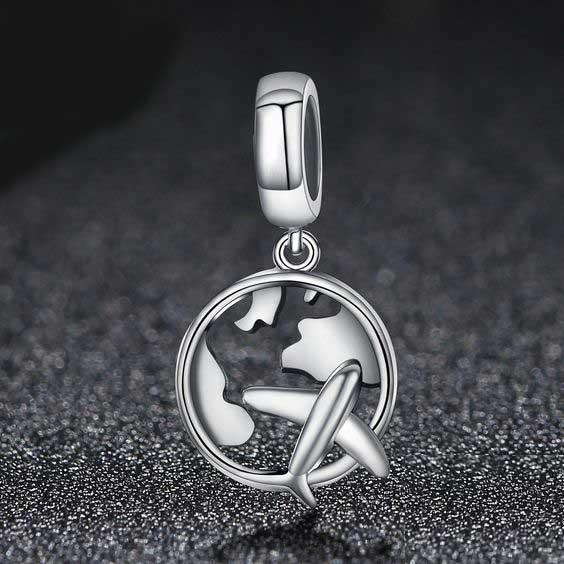 Conta pingente de prata 925 compatível com pandora (viajar)