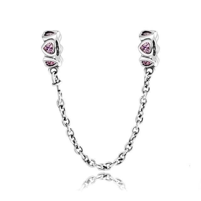 Corrente de prata compatível com pandora (corações rosa)