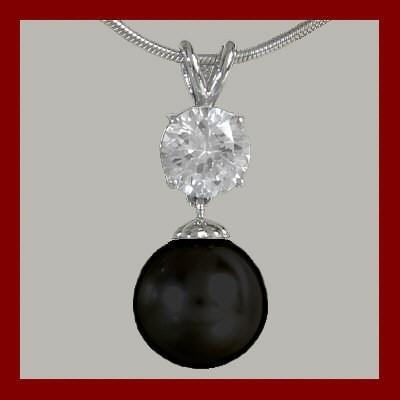 Pendente / Pingente prata 925 com pérola preta e pedra zircão