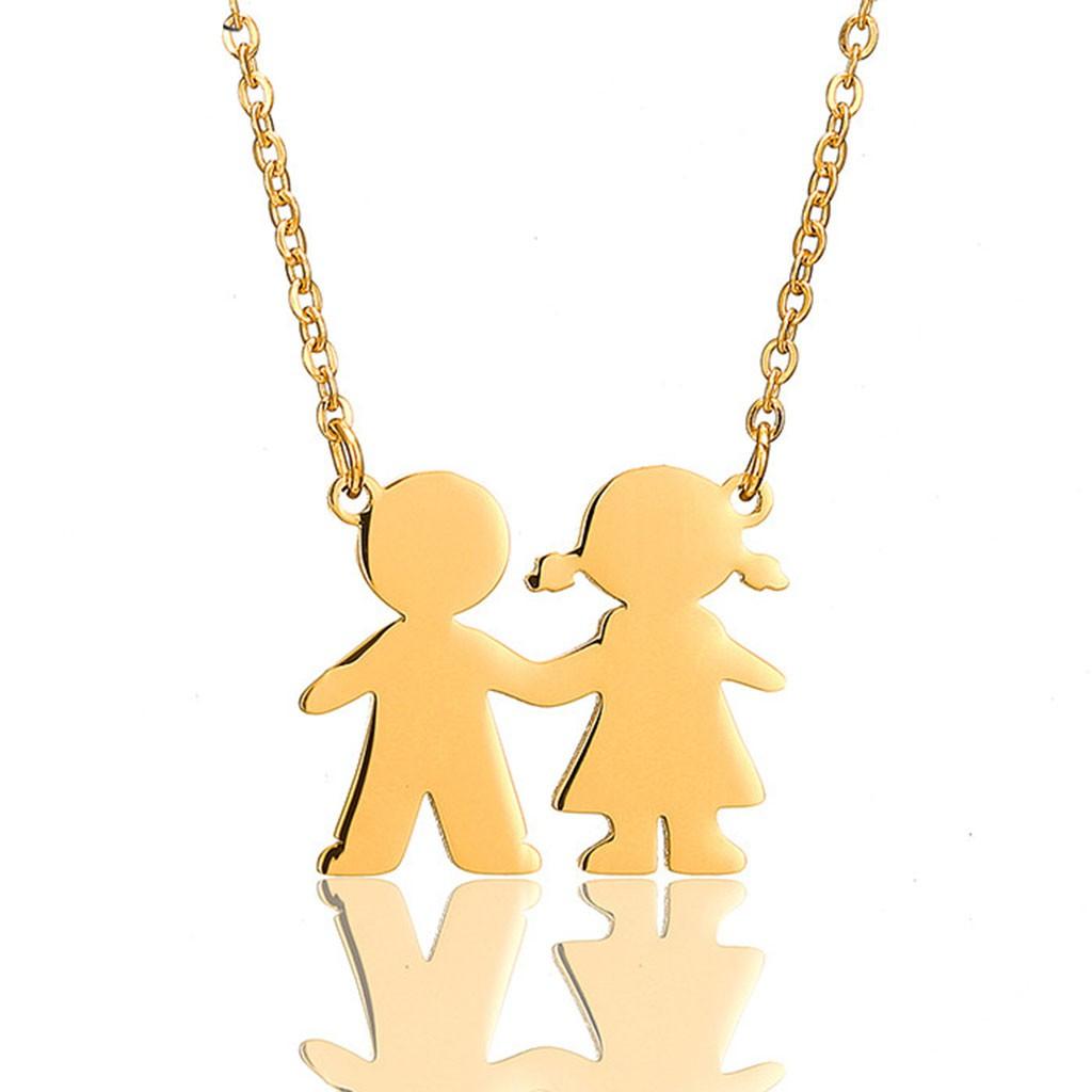 Fio com pingente / pendente de aço inoxidável cor ouro (menino e menina)