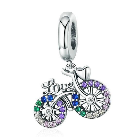 Conta pingente de prata 925 compatível com pandora (Love - bibicleta)