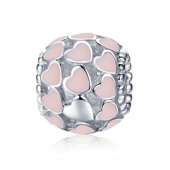 Conta de prata 925 compatível com pandora (corações luminosos - rosa)
