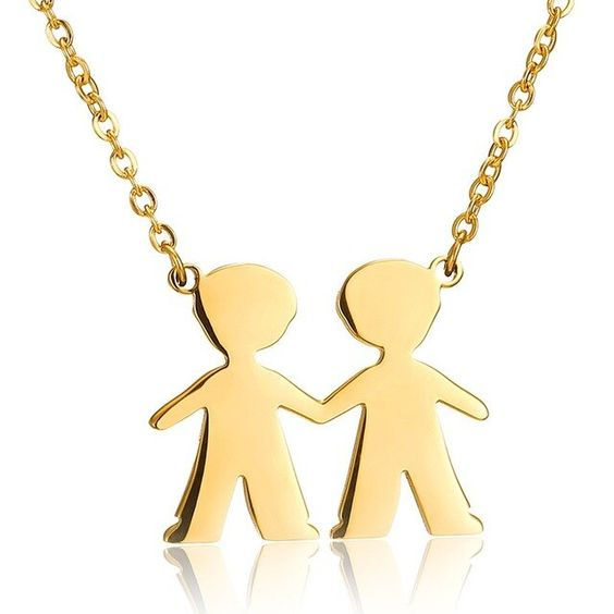 Fio com pingente / pendente de aço inoxidável cor ouro (meninos)