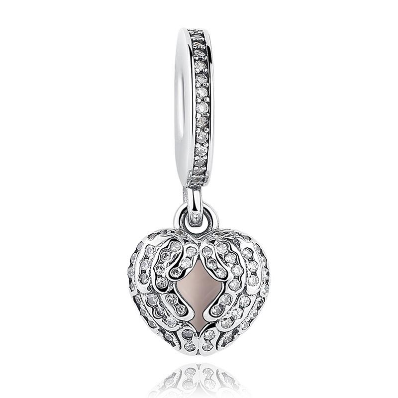 Conta pingente de prata 925 compatível com pandora (asas de anjo)