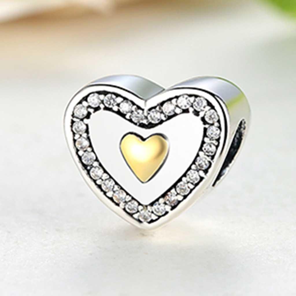 Conta de prata 925 compatível com pandora (sempre no meu coração)