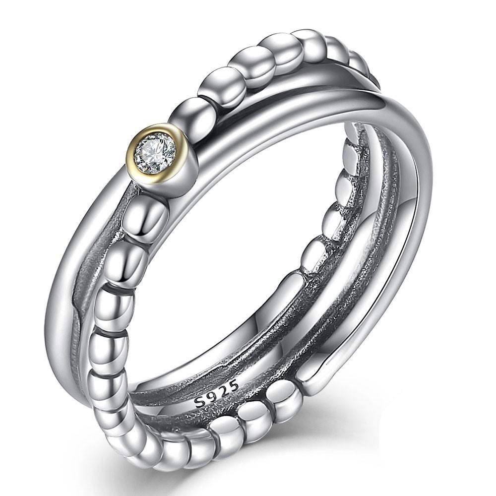 Anel / aliança de prata 925 com pedra zircão compatível com pandora
