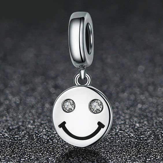 Conta pingente de prata 925 compatível com pandora (smile - sorriso)