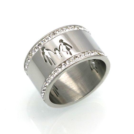 Aliança / anel de aço inoxidável com cristais (Família)