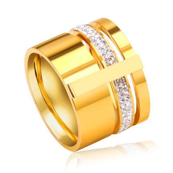 Aliança / anel de aço inoxidável banhada a ouro com pedras zircão