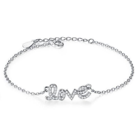 Pulseira de prata 925 compatível com pandora (LOVE)