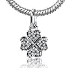 Conta pingente de prata 925 compatível com pandora (Trevo 4 folhas)