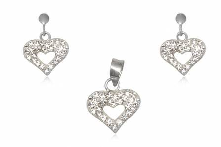Conjunto brincos e pendente prata 925, cristais brancos