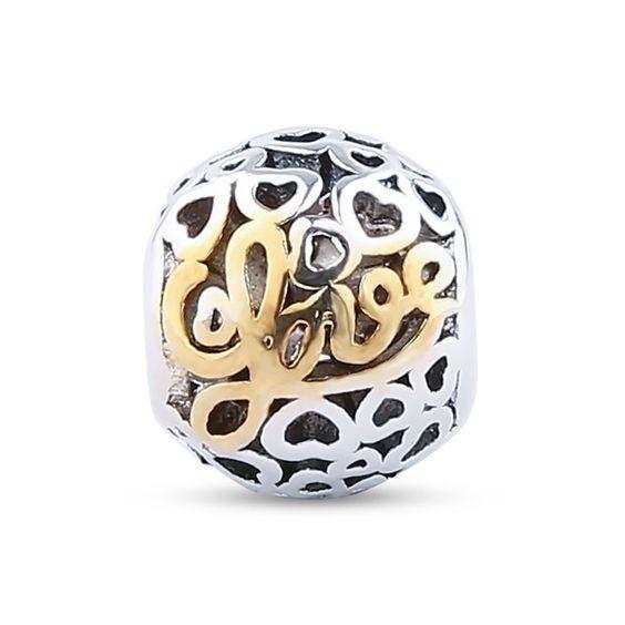 Conta banhada a prata 925 compatível com pandora (Love)