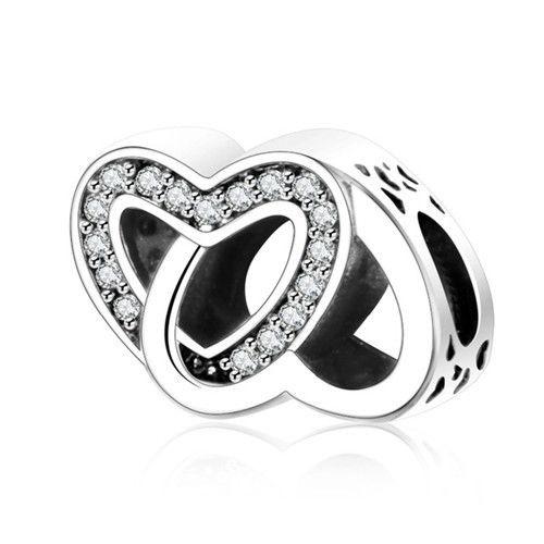 Conta de prata 925 compatível com pandora (amor entrelaçado)