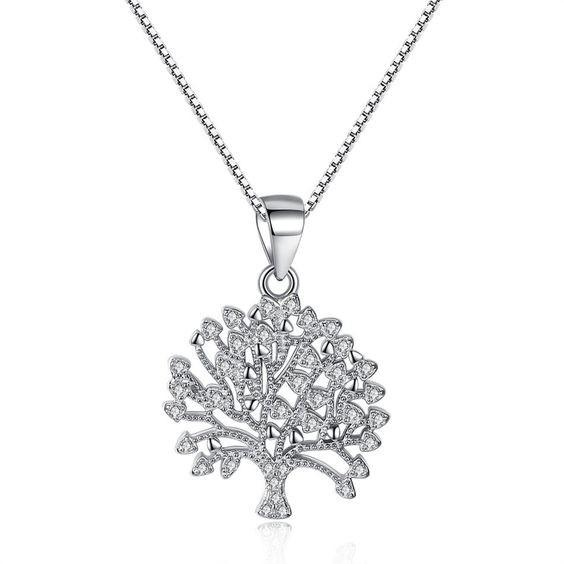 Pendente / Pingente de prata 925  (árvore vida / família) com fio