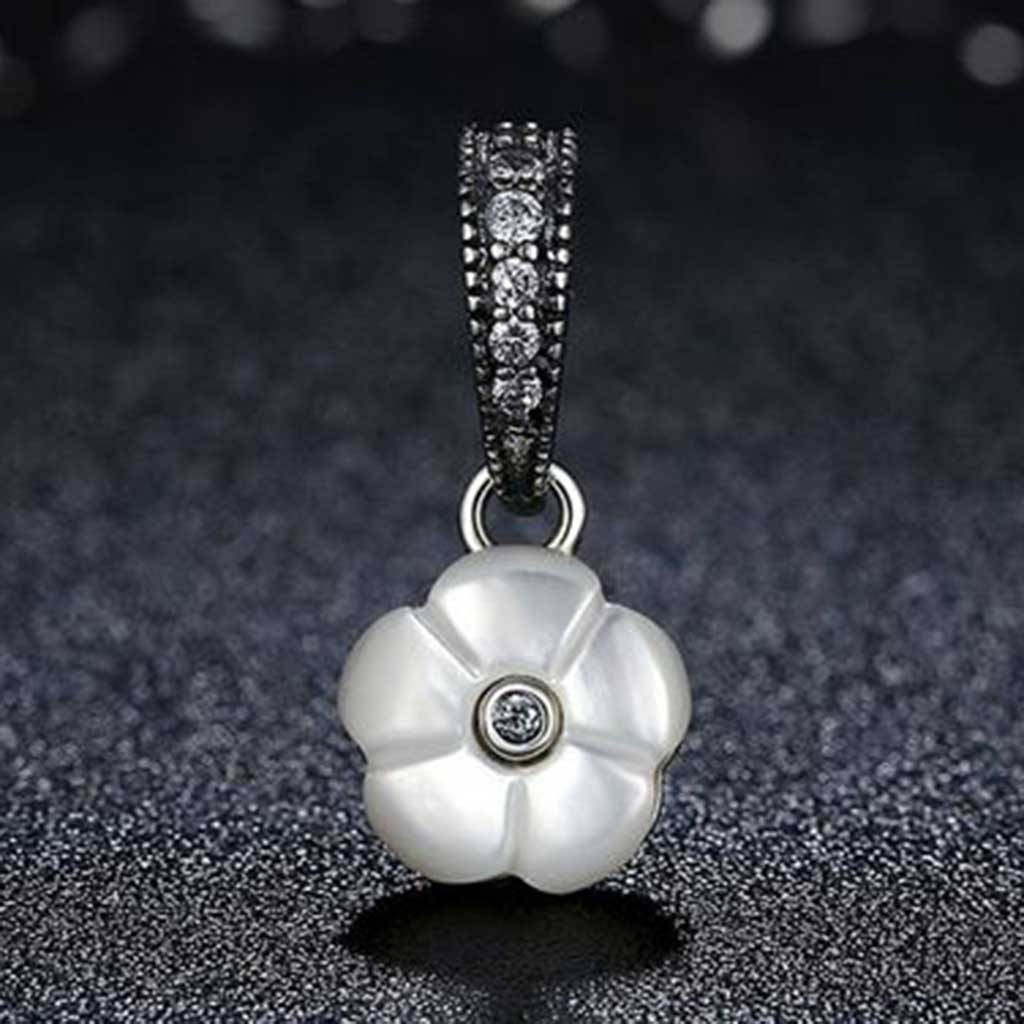 Conta pingente de prata 925 compatível com pandora (flor luminosa)