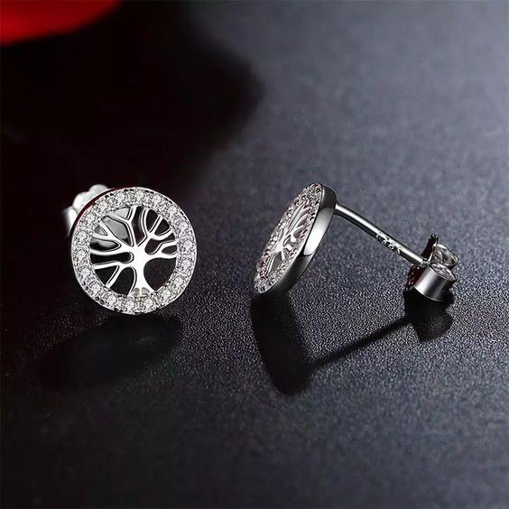 Brincos de prata 925 compatível com pandora (árvore da vida)