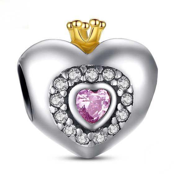 Conta coração com coroa de prata 925 compatível com pandora (Princess)