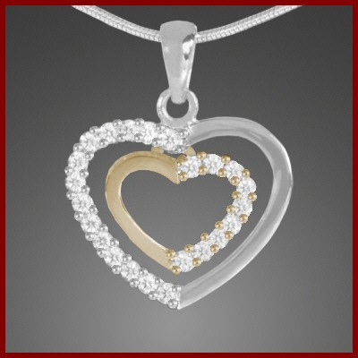 Pendente / Pingente de prata 925 com pedras Zircônia cúbica (coração bicolor)
