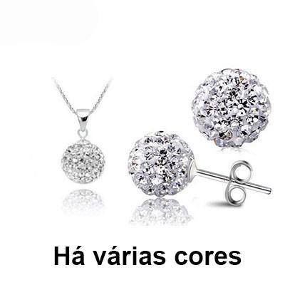 Conjunto brincos e pendente banhado à prata 925, com cristais