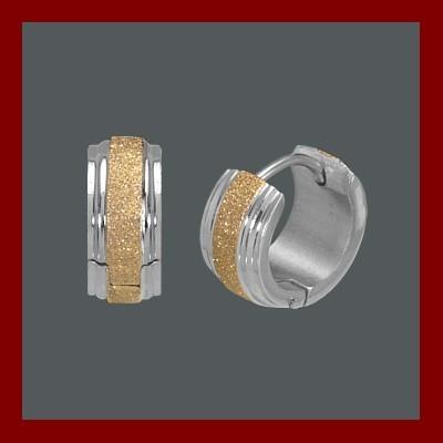 Brincos de aço inoxidável cor prata e ouro