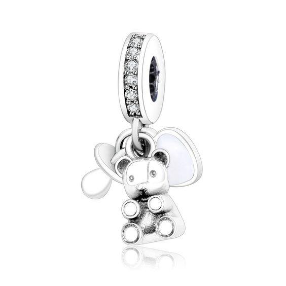 Conta pingente de prata 925 compatível com pandora (coração, urso e chucha)