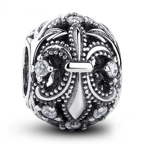 Conta de prata 925 compatível com pandora (Flor-de-Lis)