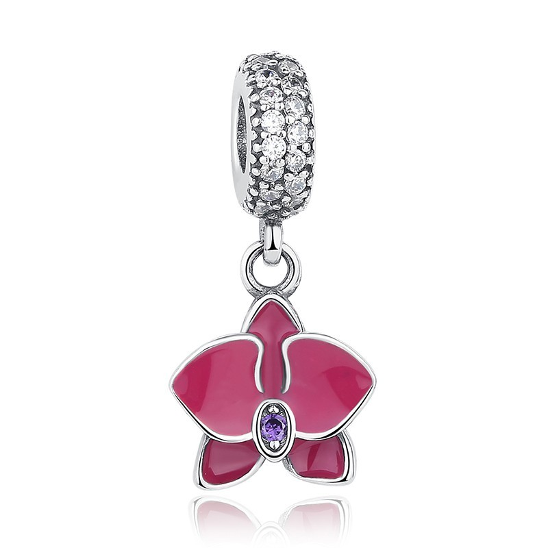Conta pingente de prata 925 compatível com pandora (orquídea)