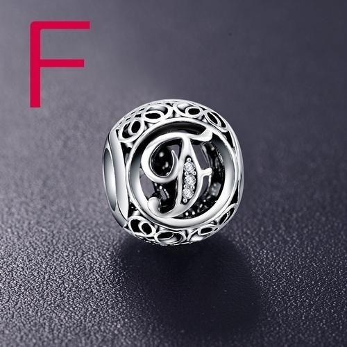 Conta de prata 925 compatível com pandora (letra F)