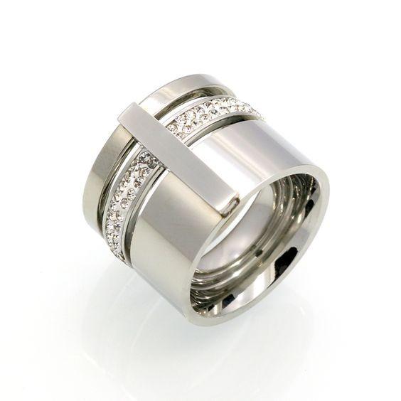 Aliança / anel de aço inoxidável com cristais