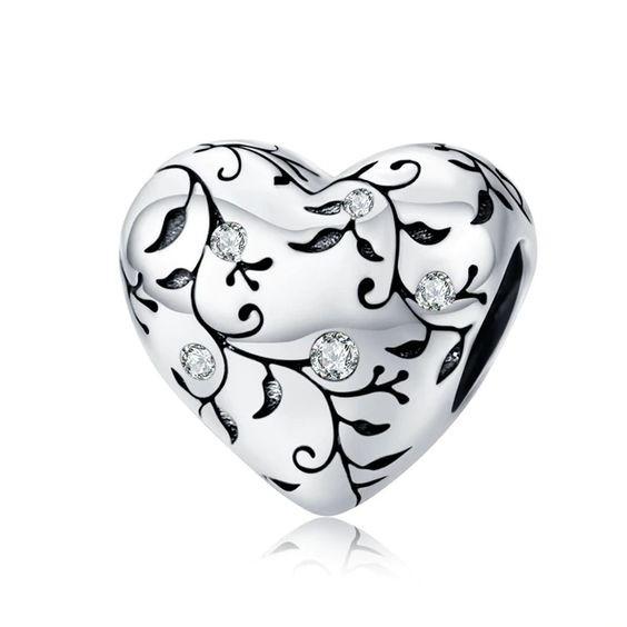 Conta de prata 925 compatível com pandora (coração com cristais)