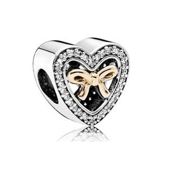 Conta banhada a prata 925 compatível com pandora (Coração laço dourado)
