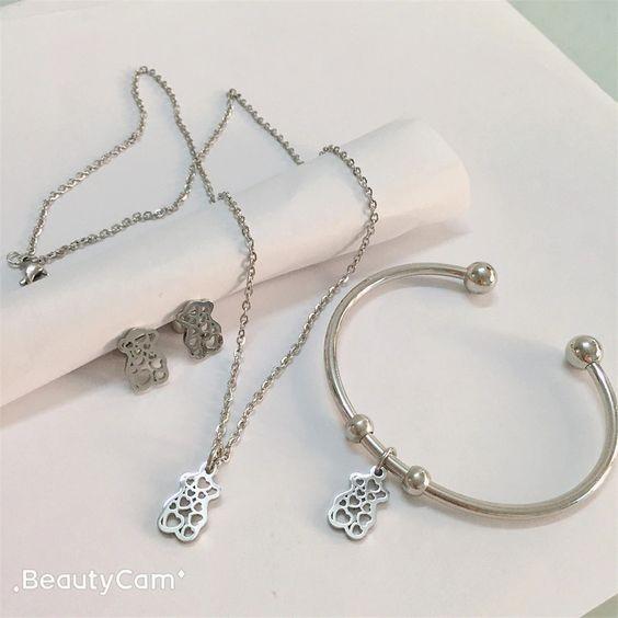 Conj. pingente / pendente + pulseira + brincos de aço inoxidável (urso corações)